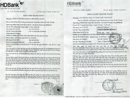 Hai giấy bảo lãnh thanh toán cho HD Bank Chi nhánh Thăng Long phát hành.